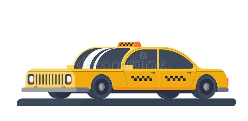 Żółty taxi samochód Usługa dla transportów pasażerów Płaska Wektorowa ilustracja Odizolowywająca na Białym tle royalty ilustracja