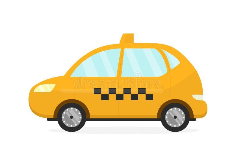 Żółty taxi taksówki samochód Wektorowy płaski nowożytny royalty ilustracja