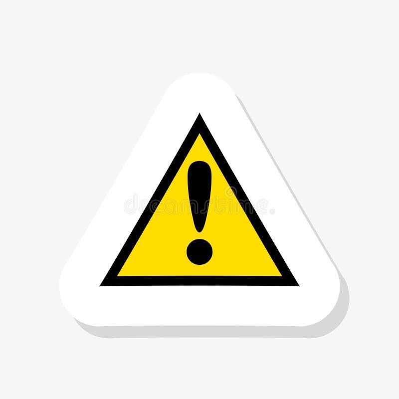 Żółty trójgraniasty znaka ostrzegawczego majcher nad białym tłem ilustracji