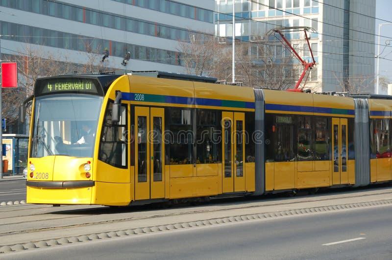 Żółty tramwajowy obraz royalty free