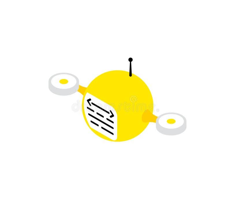 Żółty trutnia robota programista monitoruje systemów kierowców diagnostyków Informacja szpieg Ikona logo wektorowa technologia ilustracja wektor