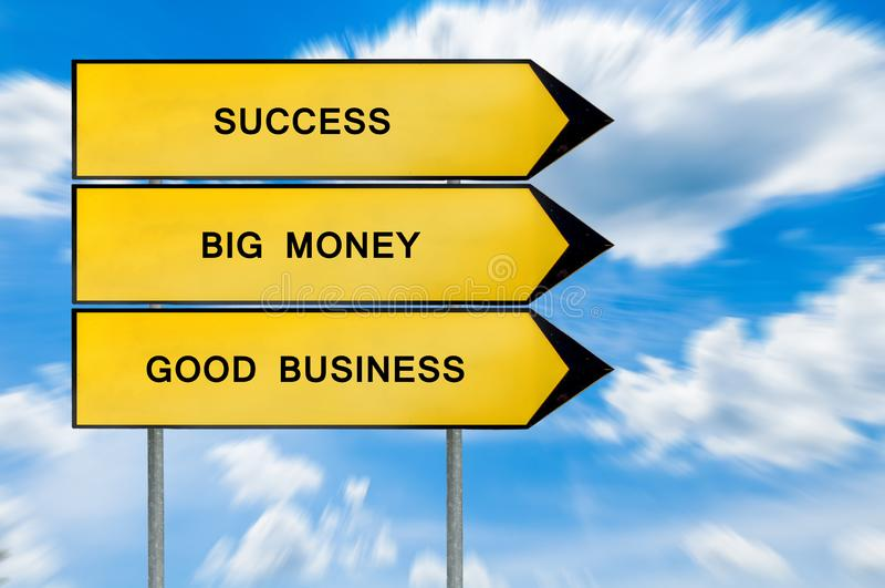 Żółty uliczny pojęcie sukces, duży pieniądze, biznesu znak obrazy stock