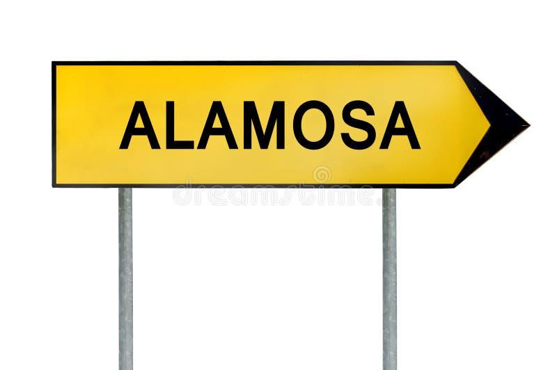 Żółty uliczny pojęcie znak Alamosa solated na bielu zdjęcie royalty free