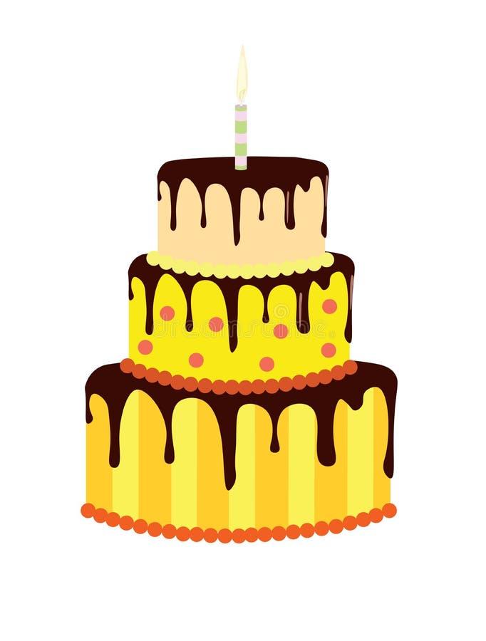 Żółty urodzinowy tort royalty ilustracja