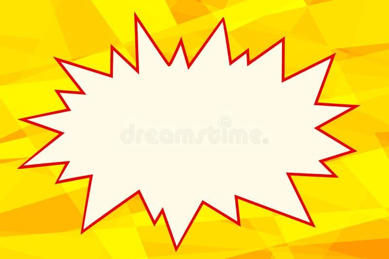Żółty wystrzał sztuki tła komiczek bąbel royalty ilustracja