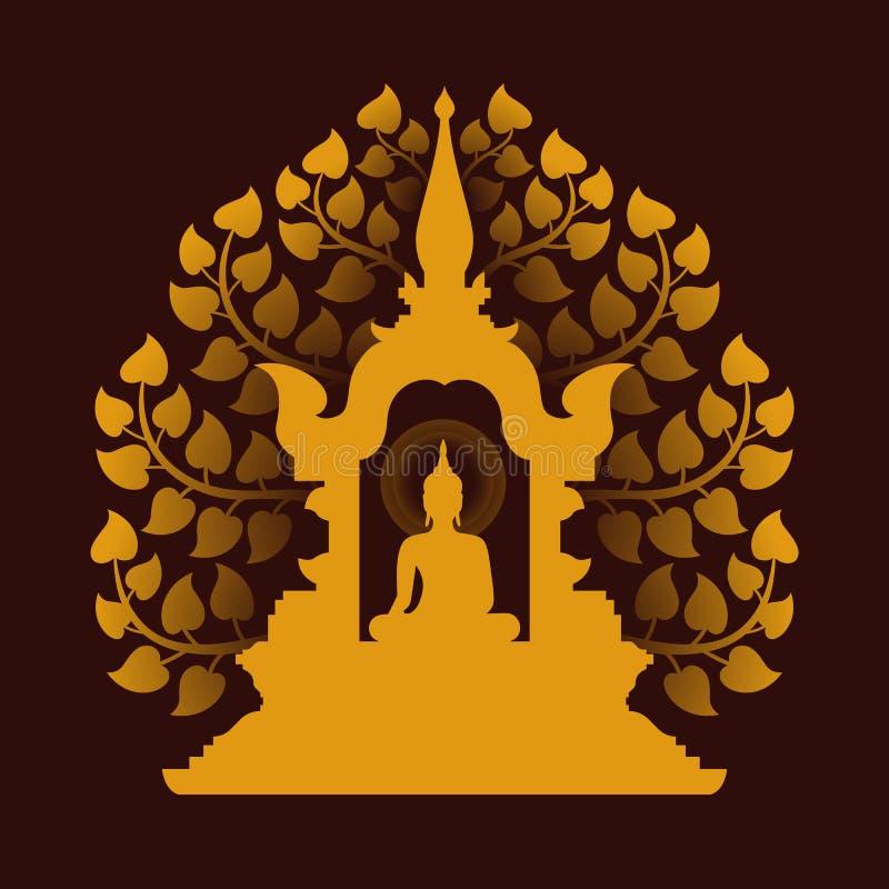 Żółty złoto Buddha Medytuje w kopuły i Bodhi drzewnego tła wektorowym projekcie ilustracji