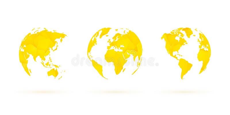 Żółtych geometrycznych kul ziemskich planety wektorowa ustalona światowa ziemia ilustracja wektor
