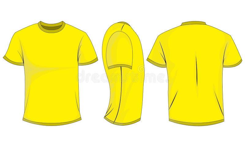 Żółtych mężczyzn koszulka z krótkimi rękawami przód, plecy, boczny widok pojedynczy białe tło royalty ilustracja