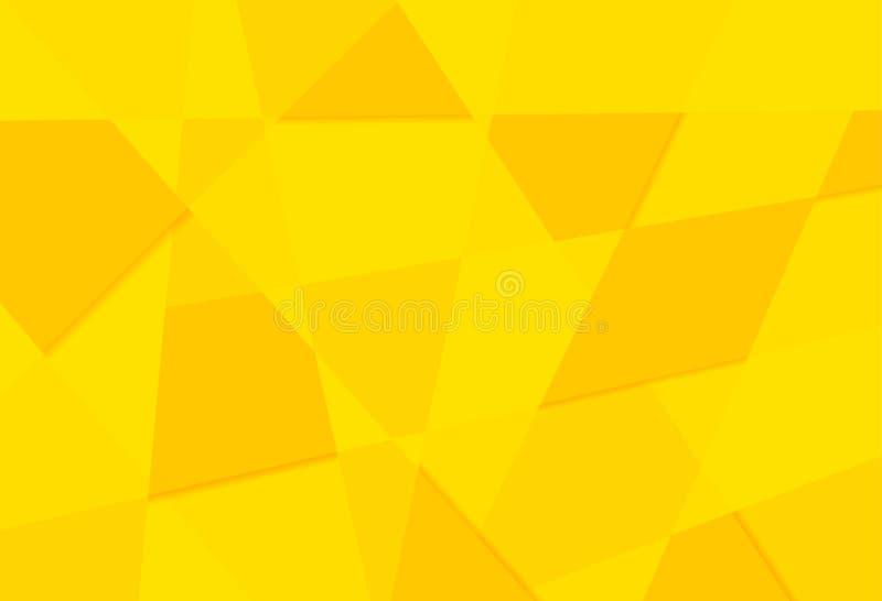 Żółtych pomarańczowych abstrakcjonistycznych trójboków papieru retro wzór geometryczny m ilustracja wektor