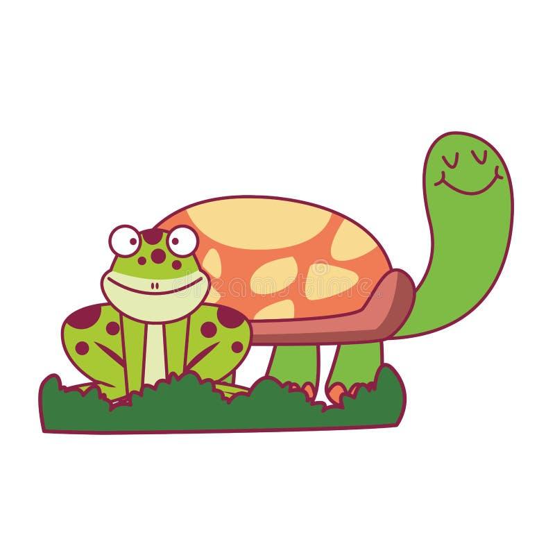 Żółw i żaba na trawie ilustracja wektor