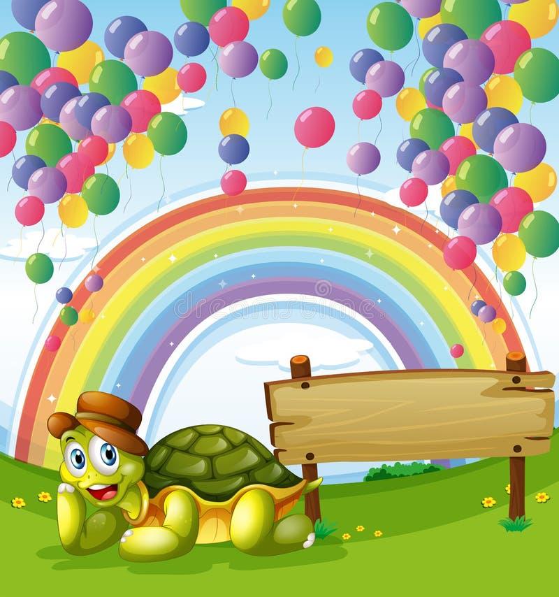żółw obok pustej deski z tęczą ilustracji
