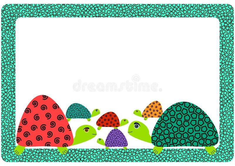 Żółw rodziny ramy zaproszenia karta royalty ilustracja