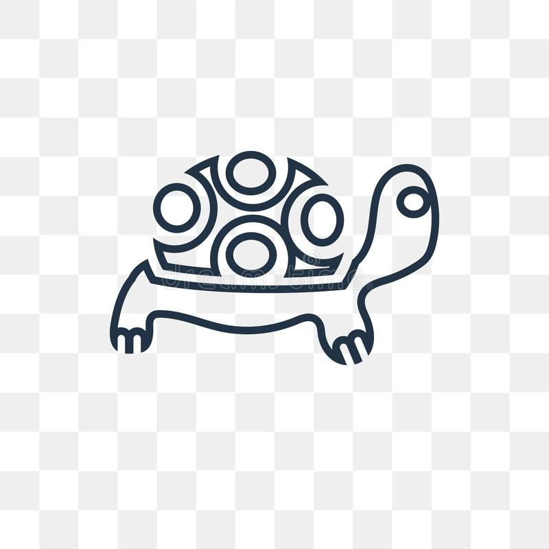 Żółw wektorowa ikona odizolowywająca na przejrzystym tle, liniowy Tu royalty ilustracja