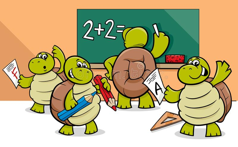 Żółwi postać z kreskówki w sala lekcyjnej royalty ilustracja