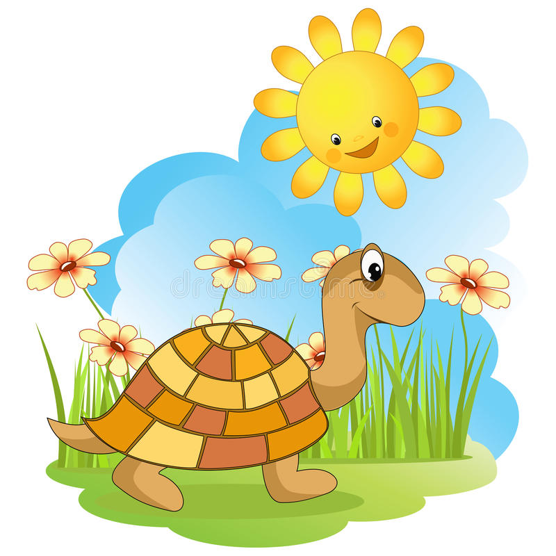 żółwia odprowadzenie ilustracja wektor