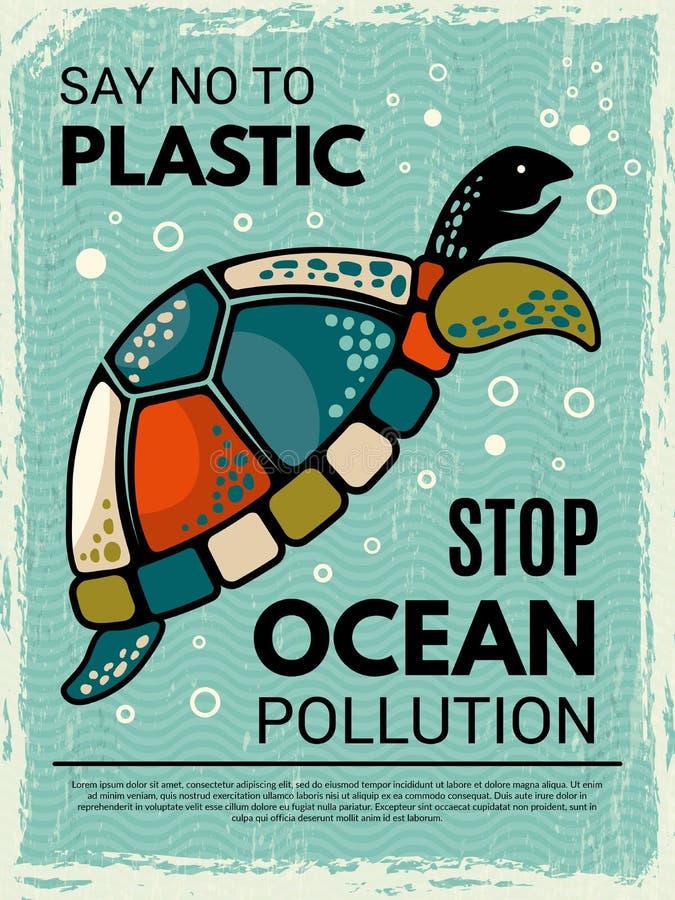 Żółwia plakat Ornamentacyjny kreatywnie projekta plakat z obrazkiem stylizowany tortoise ocean lub dennego zwierzęcia wektor royalty ilustracja