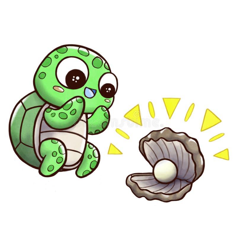 Żółwia znalezienia ostryga z perłą - odizolowywającą w białym tle ilustracji