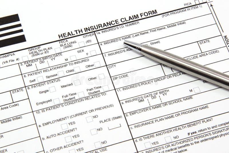 żądania formy ubezpieczenia zdrowotnego pióra srebro obraz stock