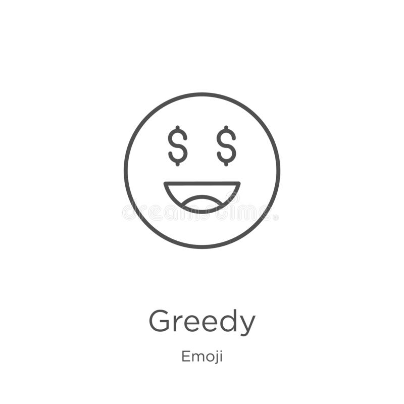 żądny ikona wektor od emoji kolekcji Cienieje kreskową żądną kontur ikony wektoru ilustrację Kontur, cienieje kreskową żądną ikon ilustracja wektor