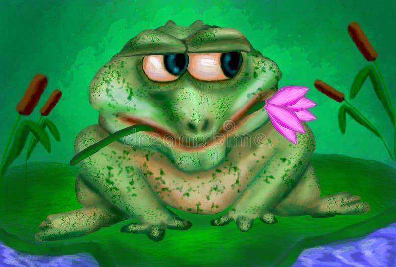 Żaba na wodnej lelui liściu czekać na miłości ilustracji