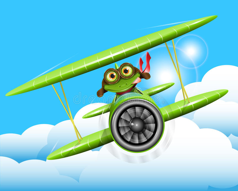Żaba pilot ilustracja wektor