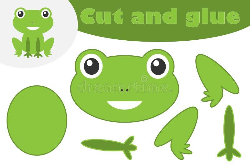 Żaba w kreskówka stylu, edukacji gra dla rozwoju preschool dzieci, używa nożyce i kleidło tworzyć aplikację, cięcie ilustracji