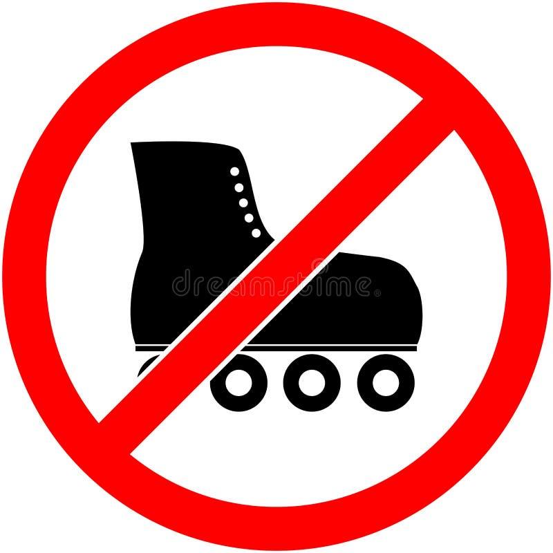 Żadny łyżwa, rollerskate zabraniał symbol wektor ilustracja wektor