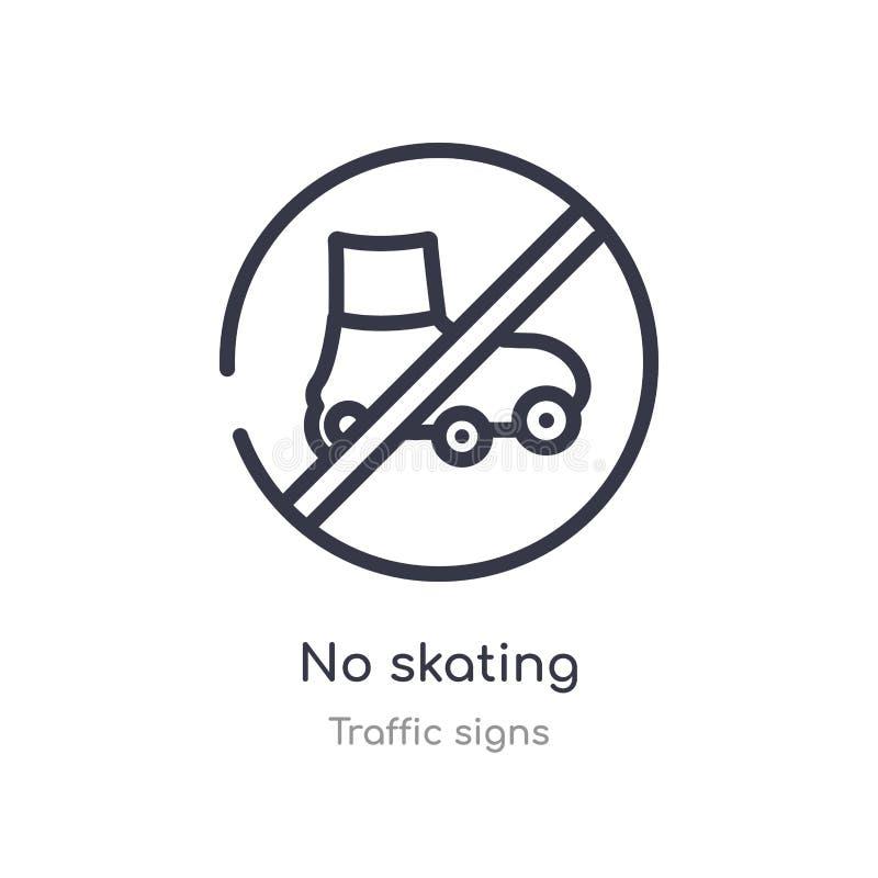 żadny łyżwiarska kontur ikona odosobniona kreskowa wektorowa ilustracja od ruch?w drogowych znak?w inkasowych editable cienieje u ilustracji