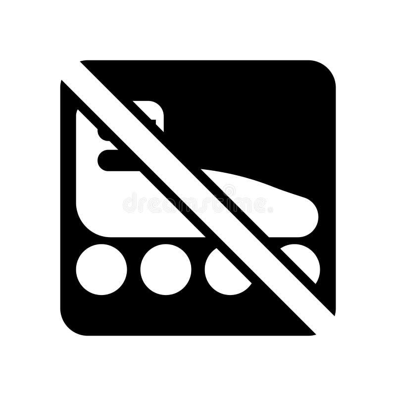 Żadny łyżwiarski ikona wektor odizolowywający na białym tle, Żadny łyżwiarski znak ilustracja wektor