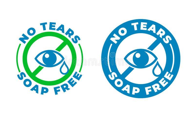 Żadny łzy formuła, mydło szamponu wektoru bezpłatna ikona Dzieciaki i dziecka skincare żadny łzy stemplują logo, oko kropla ilustracja wektor