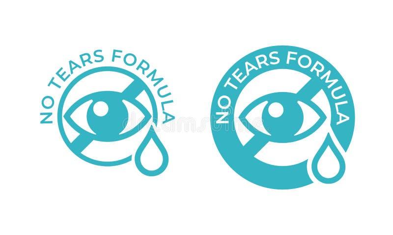 Żadny łzy formuły wektoru ikona Dzieciaka mydła bezpłatny szampon i dziecka skincare żadny łza stemplowy logo, oko kropli znak royalty ilustracja