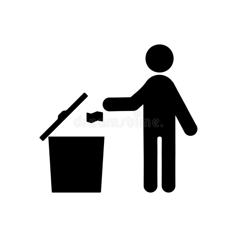 Żadny śmiecić ikona ilustracja wektor