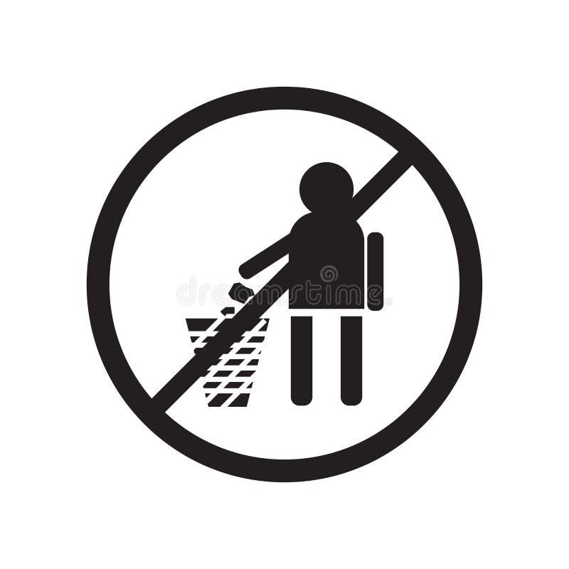 Żadny śmiecić ikony wektoru Szyldowy symbol i, Żadny śmiecić logo Szyldowy pojęcie ilustracji