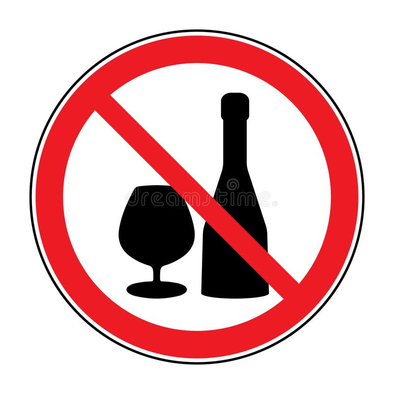 Żadny alkoholów napojów znak ilustracji