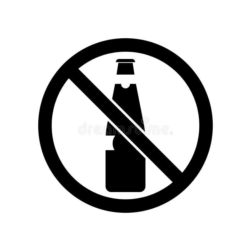 Żadny alkohol ikony wektor odizolowywający na białym tle, Żadny alkoholu znak, piwni symbole ilustracja wektor