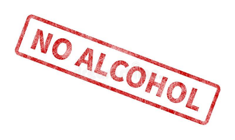 Żadny alkoholu znaczek - Czerwona Grunge foka ilustracja wektor