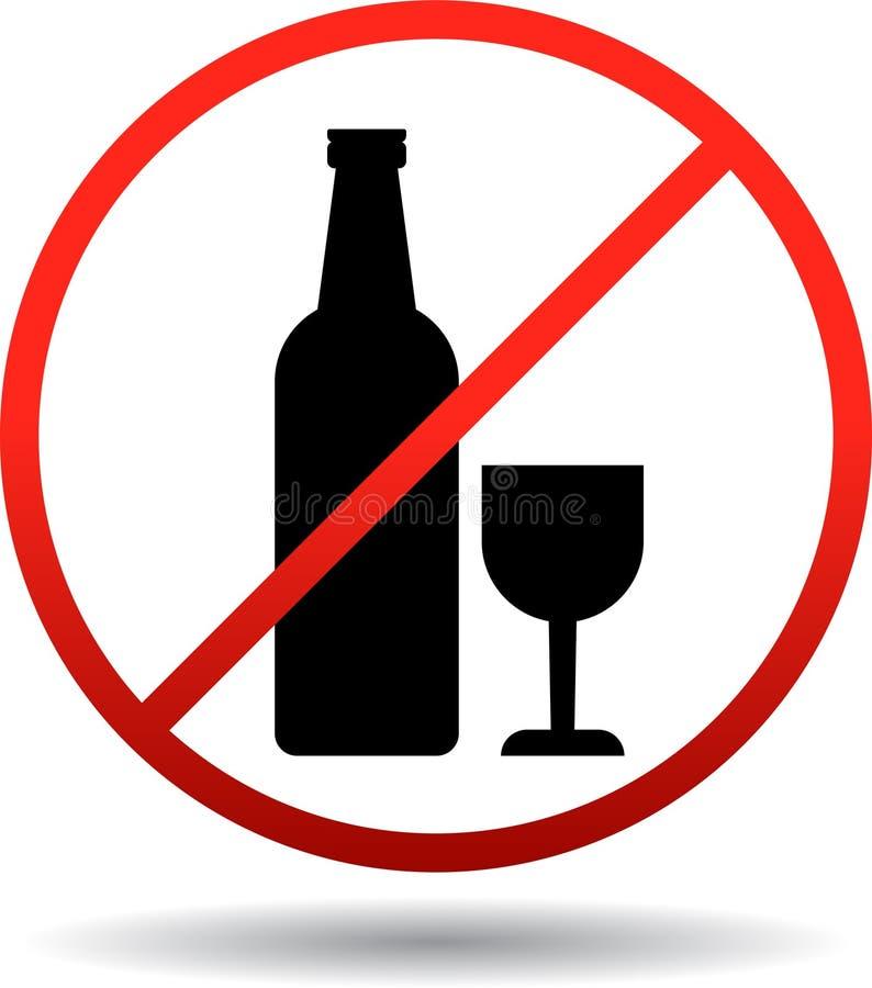 Żadny alkoholu znak na bielu royalty ilustracja