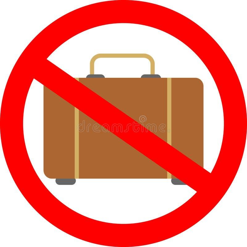 Żadny bagażowa szyldowa ikona Prosty glif, element zakaz, prohibicja, zakazuje ikony ilustracji