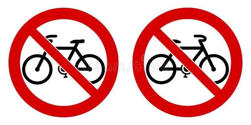 Żadny bicykl, bicyklu pozwolić znak/ Czarny rower podpisuje wewnątrz czerwień c royalty ilustracja