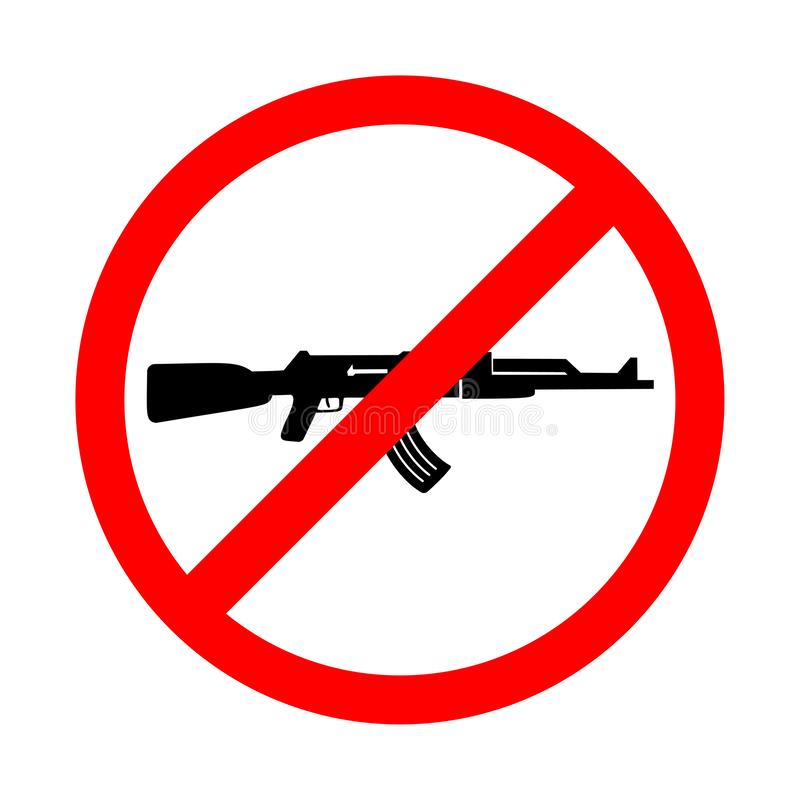 Żadny broń znak, żadny wojna znak Jaskrawa ostrzegawcza ikona, ograniczenie znak na białym tle ilustracja wektor