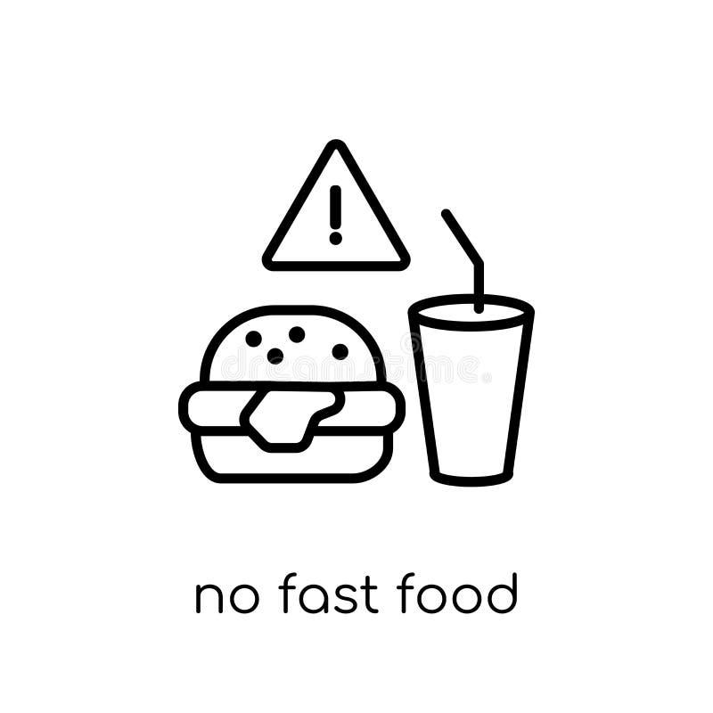 Żadny fast food ikona Modny nowożytny płaski liniowy wektor Żadny fast food ilustracji