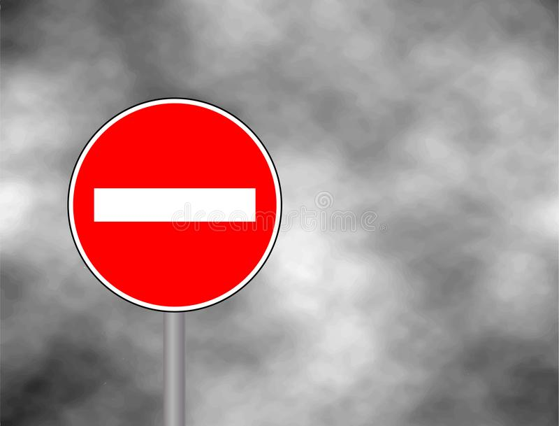 Żadny Hasłowy ruchu drogowego znak odizolowywający w nieba tle drogowego znaka sposobu krzywda ilustracji