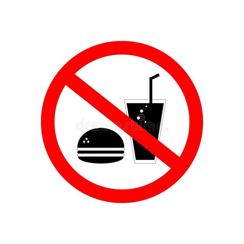 Żadny jedzenie, Żadny napoju znak, czerwieni cienka linia na białym tle - wektorowa ilustracja ilustracja wektor