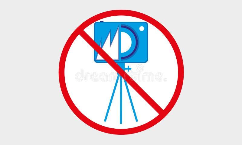 Żadny kamery ikona Żadny fotografia logo, Żadny Statywowy kamera symbol royalty ilustracja