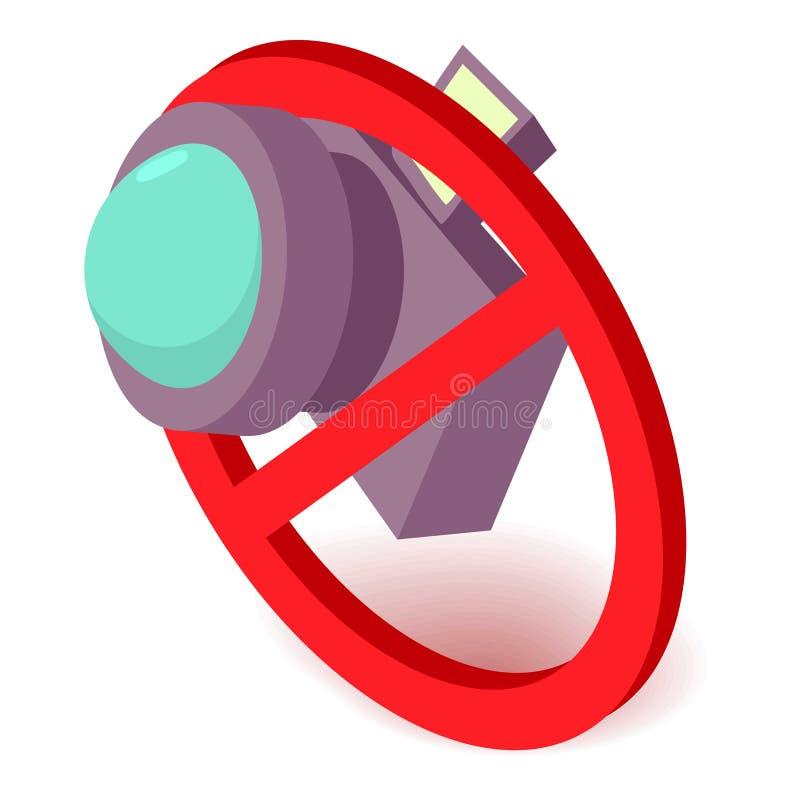 Żadny kamery ikona, isometric 3d styl royalty ilustracja