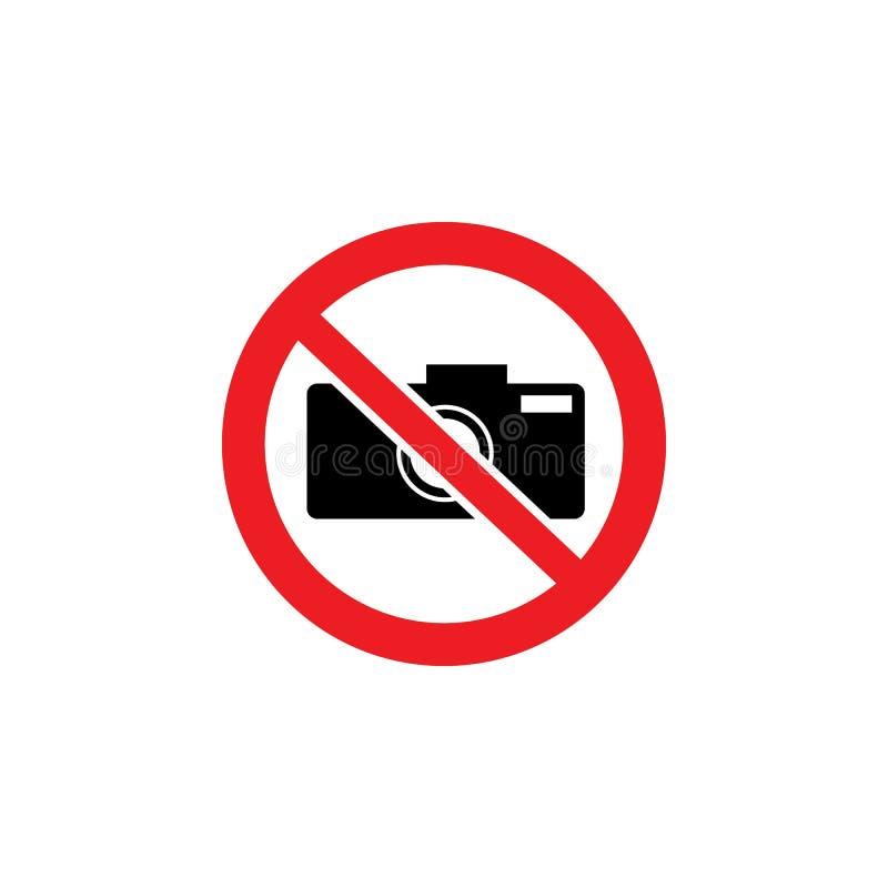 Żadny kamery ikona wśrodku czerwieni krzyżującej za okręgu znaku Fotografii ograniczenia symbol w ochraniającym terenie royalty ilustracja