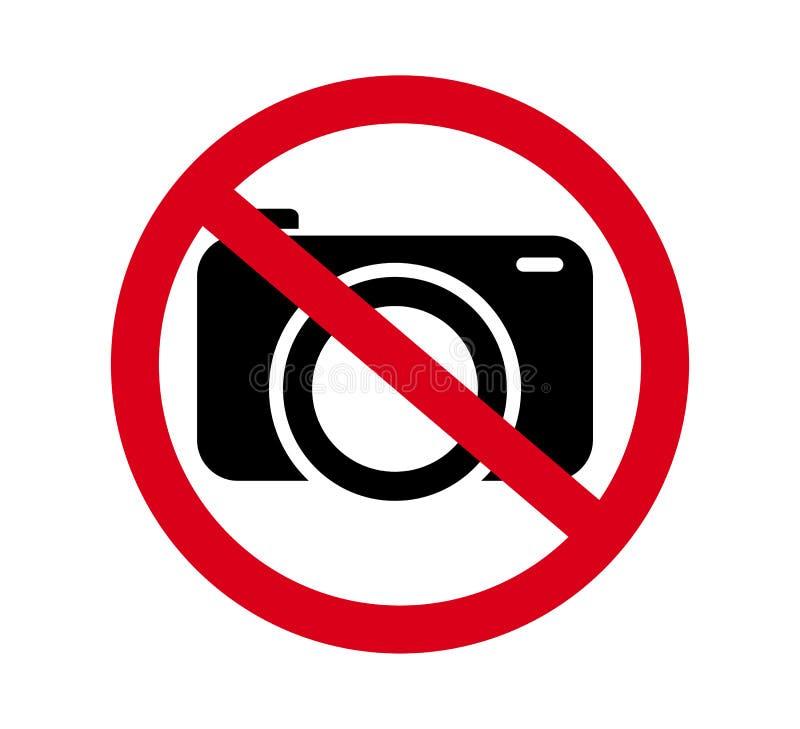 Żadny kamery pozwolić znak Czerwona prohibicja żadny kamera znak Żadny bierze obrazki, żadny fotografia znak  royalty ilustracja