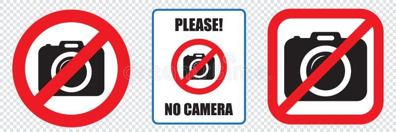 Żadny kamery pozwolić znak Prohibicja żadny kamera znak Żadny bierze obrazki, żadny fotografia znak royalty ilustracja