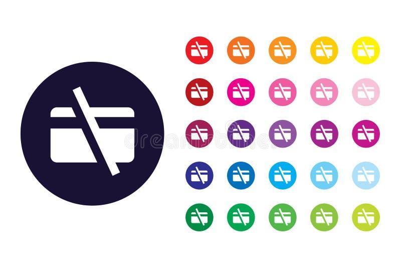 Żadny karta kredytowa znaka ikona Żadny karta kredytowa koloru symbol ilustracja wektor