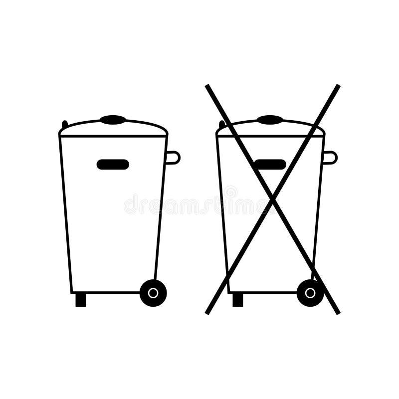 Żadny kosz na śmieci ikona Krzyżująca ściółka Zbiornik przetwarza Symbol śmieci, banialuka, usyp Zabroniony element etykietki spo ilustracja wektor